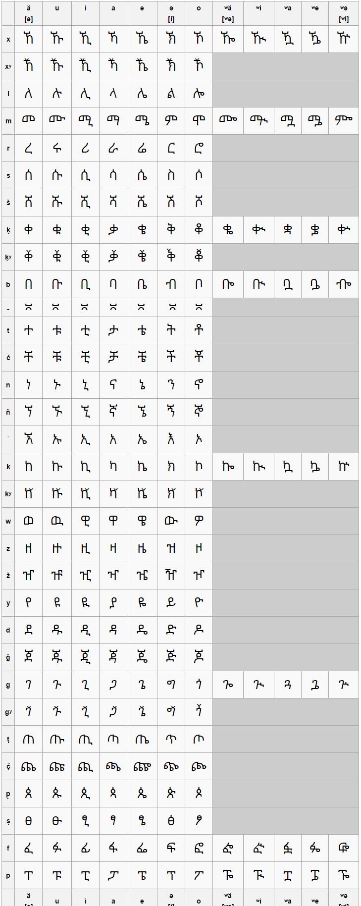 Складове письмо мови чаха